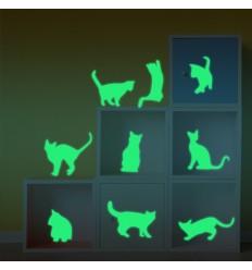 9 Adesivi decorazione murali Gatto fosforescenti che si illuminano al buio