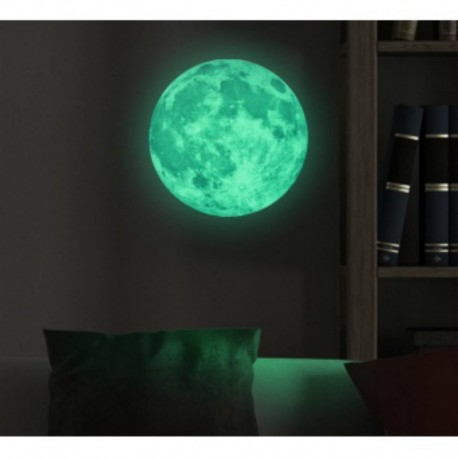 Phosphorescent fluorescent glow in the dark full moon sticker in 3 sizes