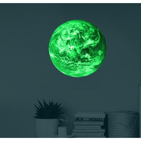 Adesivo pianeta Terra luminescente fosforescente che si illumina al buio