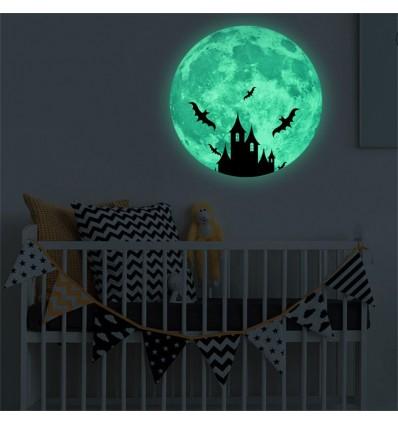 Adesivo luna piena con pipistrelli e castello luminescente fosforescente